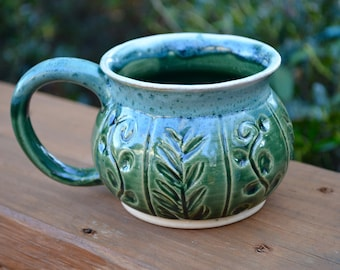 Green Vines Handmade Pottery Mug 12oz