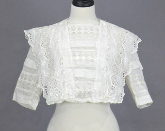 Antique Edwardian White Cotton Eyelet Embroidered Blouse, 1910s Blouse, Cropped Bohemian Top, Medium