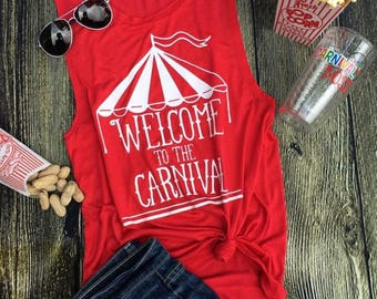 Carnival muscle tank top. Big top muscle tank.