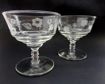 Vintage Libbey Rock Sharpe Halifax Low Sherbet or dessert cups - Two Stemmed Dessert Sorbet Sherbet Glasses Cups Etched Flower & Leaves