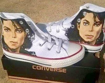 The King of Pop!!!! Michael Jackson Handpainted Converses for Antoine