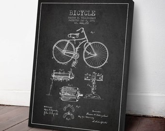 1891 Bicycle Patent Canvas Print, Wall Art,Bicycle Print, Bicycle Poster, Bicycle Art,  Home Decor, Gift Idea