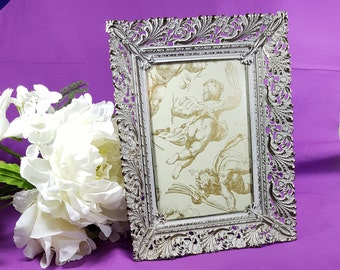5x7 WHITE WASHED FRAME Vintage Metal Picture Frame Table Top Standing Ornate Photo Frame