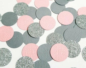 Pink Grey Silver Confetti, Pink and Grey Decorations, Pink Grey Baby Shower, Pink and Grey, Gender Neutral Baby Shower Decorations
