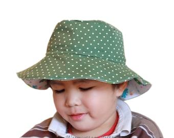 Sun hat pattern Baby Toddler Children kid Reversible PDF sewing pattern, 6M,12M,24M,3Y,5Y,8Y