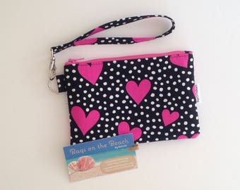 Wristlet with removable strap, Black & Pink Zippered Wristlet, Zippered Pouch, Errand Runner Pouch, Hearts, Dots, Small Zippered Pouch
