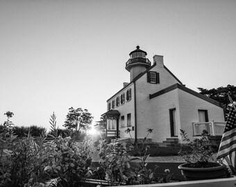 Coastal Decor,Fine Art Print, Photography, Wall Art,Lighthouse,black and white,beach,