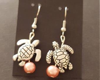 Earrings - Drop Sea Turtles, Silver & Pink