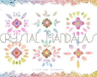 Mandala Crystal Clip Art - Bohemian Clip Art - Boho Clipart - Rainbow Clipart -Boho Clip Art Graphics - Boho Floral Boho Flower Design
