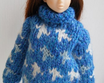 Hand knitting MOMOKO turquoise jumper by Jing's Crafts
