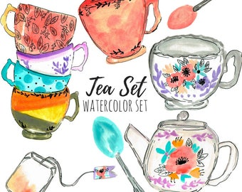 Tea Clip Art - Floral Clip Art - Vintage Clip Art - Tea Set - Watercolor Clip Art - Commercial use