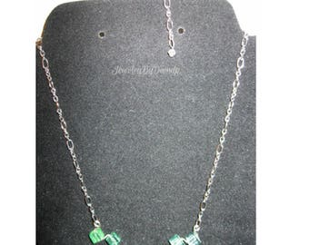 Emerald Green Quartz Cube Statement Necklace, Silver Chain, Lobster Claw Clasp
