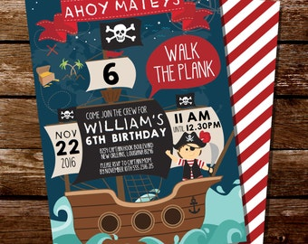 Pirate Party Invitation - Pirate Map Invitation - Pirate Ship Party Invitation - Pirate Party for Boys - Instant Download and Editable File