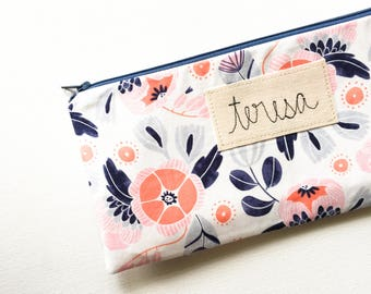 Gift for Her, Womens Gift, School Supplies, Personalized Zipper Pouch, Pencil Case Small Gift Personalized Gift Botanical, Friend, Organizer