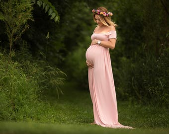 Maternity Dress for Photo Shoot-Pink Maternity Gown for Photo Shoot-Maternity Photo Prop-Maternity Dress for Baby Shower-CLARISSA