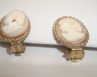 Vintage cameo - clip on earrings - price reduced due to imperfection