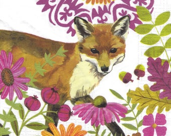 211 Fox in flowers 1 paper size 33 X 33 lunch napkin