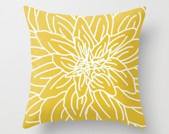 Modern Spring Flower Pillow  - Mustard Yellow - Accent Pillow - Decorative Pillow - Novelty Flower Pillow - Home Decor - By Aldari Home