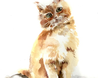 Kitty Original Watercolor Painting, Cat Watercolour Painting Portrait, Cat Art, Painting of Kitten