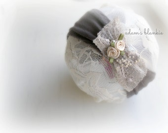 Grey - Vintage Inspired - Cream Gray Beige - Stretch Rosette Headband - Pearl Flowers - Newborn Infant Baby Girl Toddler Adult