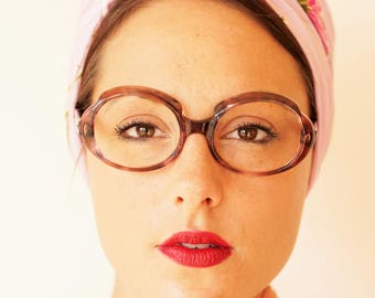 Vintage Eyeglass 1970s Retro Frames Multi color New Old Stock Glasses By Swank Made in France Large Size