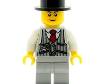 Groom Best Man Minifig in Top Hat & Waistcoat with Pocket Watch Made From LEGO Parts