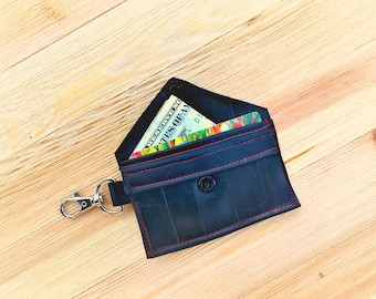 Bike Tire Tube key chain wallet, card wallet, key chain card holder, vegan ID pouch, business card holder, cyclist gift, recycled tire tube