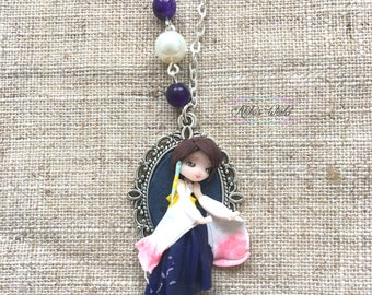Yuna necklace - Stainless chain - Final Fantasy X gift - Polymer clay doll - Fantasy jewel