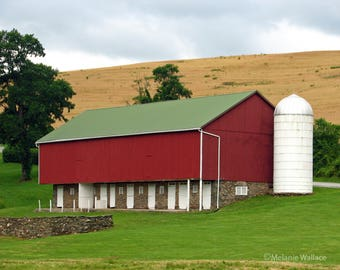 Red Barn With White Silo