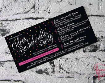 Pretty in pink bachelorette or hens party invitation and itinerary