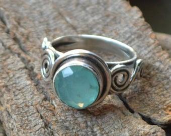 Aqua Chalcedony Ring -925 Sterling Silver Ring -Chalcedony Ring -Birthstone Ring -Chalcedony Gemstone Jewelry- Designer Chalcedony Ring