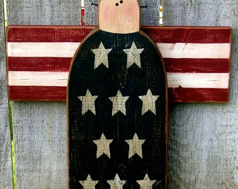 Americana Decor Patriotic Decor Wood Angel Fourth of July Independence Day Summer Decoration Primitive Star Rustic Americana Farmhouse Wood