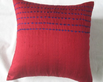Red silk dupioni cushion cover with blue stripe embroidery 16X16 inch decorative throw pillow