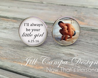 """Father of the Bride Cufflinks - """"I'll always be your little girl"""" - Custom Photo Cuff Links -  cufflinks - Father of the bride cuff links"""