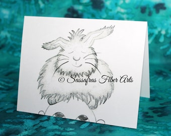 Princess Flufferbutt - Hand Drawn Greeting / Note Card - Adorable Angora Rabbit sitting on Fred's head
