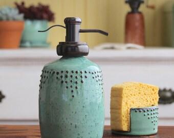 Soap Bottle Dispenser in Aqua Mist - Lotion Bottle or Dish Soap Water Well Pump - Handmade Modern Kitchen Home Decor - MADE TO ORDER