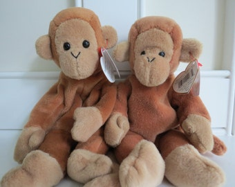 RARE Pair of BONGO Beanie Babies - Tan Tail & Brown Tail, Identical Swing Tags - Different Tush Tags, PVC Pellets, Mint Condition, No Stamp