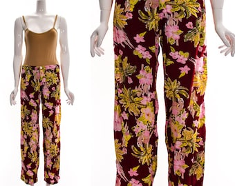 Vintage Red Pink Green Hawaiian Pants Hula Girls Hibiscus Flowers Tropical Resort Palm Trees Casual Pants Low Waist Breezy Wide Leg S M