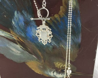 Sterling Silver Ball Chain Necklace with Large Decorative Shield