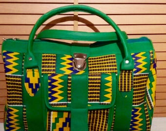 Green and Yellow Kente African Print Bag