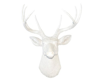 White Deer Head Wall Mount - Faux Taxidermy Deer Head in White - Baby Nursery Decor - Fake Deer Head D0101