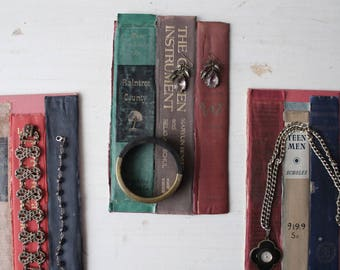 ONE Antique Book Jewelry Backdrop - 100% Recycled Book Jewelry Display Board - Flat Necklace / Bracelet / Ring Backdrop - Ready to Ship