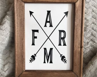 Farm Canvas  Reverse Canvas Home Decor Sign Wood Sign Housewarming Gift Farm Decor Rustic Decor Wall Hanging