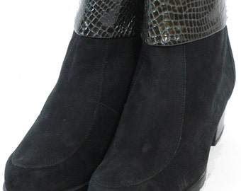 Vintage Meisi Black Suede Ankle Boots 4.5 - www.brickvintage.com