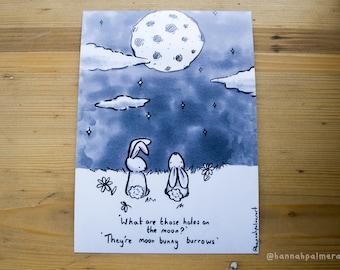 Moon bunny art Print