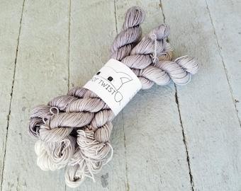 "Hand Dyed Sock Yarn, Mini Skeins, Superwash Wool - Merino - Nylon, ""Gray-dient Mini Skein Set"""