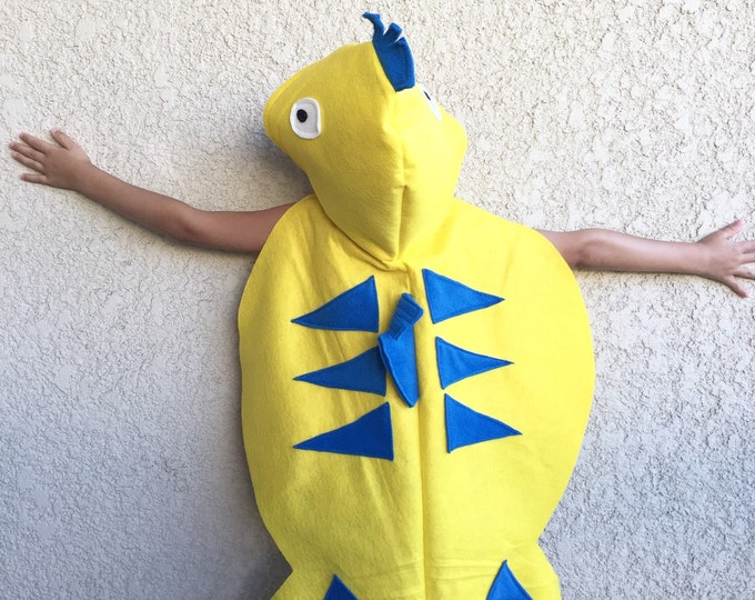 Featured listing image: Yellow Fish Hooded Cape, Kids Halloween Costume, Flounder Costume