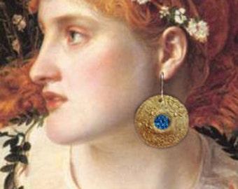 Blue Titanium Druzy Full Moon Earrings