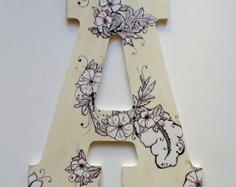 Nursery Wall letter, Letter A, Beige and white letter A with Flowers.