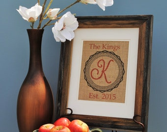 Burlap Wall Hanging - Wedding Shower Gift - Anniversary Gift - Housewarming Gift - Last Name Wall Banner - Red Print Wall Hanging Decor